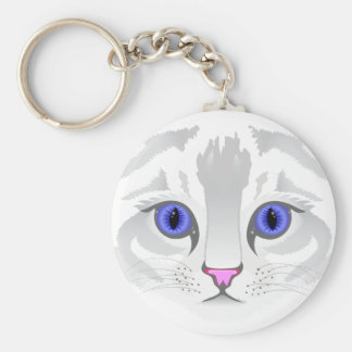 Cute white tabby cat face close up illustration key ring