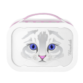 Cute white tabby cat face close up illustration lunch box