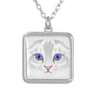 Cute white tabby cat face close up illustration silver plated necklace