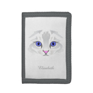 Cute white tabby cat face illustration name tri-fold wallets