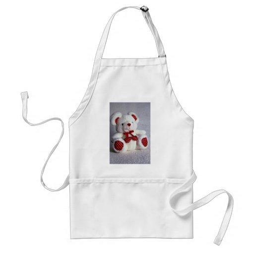 Cute white teddy bear apron