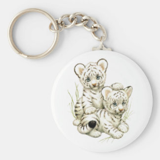 Cute White Tiger Cubs Basic Round Button Key Ring
