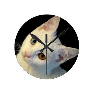 Cute White Turkish Van Kitten Clock