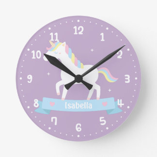 Cute White Unicorn Girls Bedroom Wall Clock