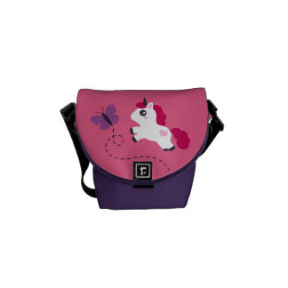 Cute White Unicorn with a Butterfly Messenger Bag