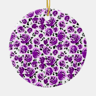 Cute white violet roses patterns christmas ornament