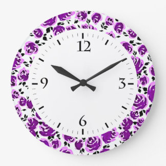 Cute white violet roses patterns large clock