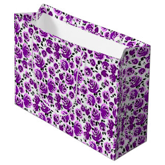 Cute white violet roses patterns large gift bag