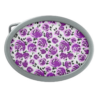 Cute white violet roses patterns oval belt buckles