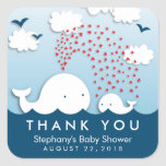 Cute White Whales Stylish Baby Thank You Stickers