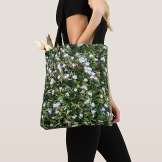 Cute White Wildflowers on Green Grass Photo Print Tote Bag