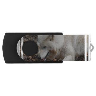 Cute White Wolf Swivel USB 2.0 Flash Drive