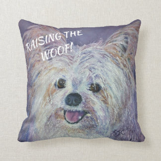 CUTE WHITE YORKIE MIX CUSHION
