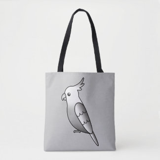 Cute Whiteface Cockatiel Cartoon Bird Illustration Tote Bag