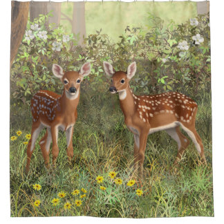 Cute Whitetail Deer Twin Fawns Shower Curtain