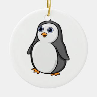 Cute Wide-Eyed Baby Penguin Round Ceramic Decoration