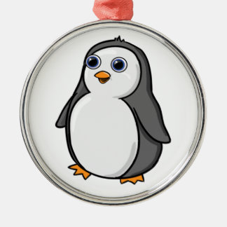 Cute Wide-Eyed Baby Penguin Silver-Colored Round Decoration