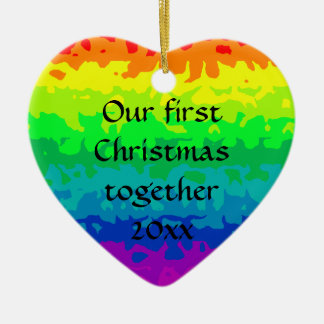 Cute wild abstract rainbow heart christmas ornament