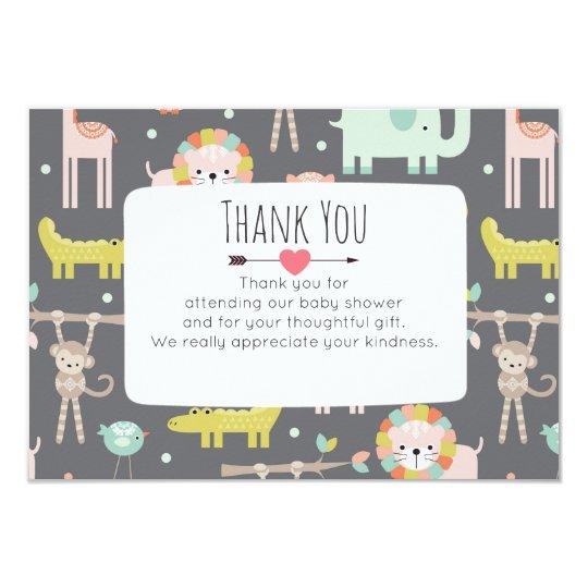 Cute Wild Animals In Pastel Baby Shower Thank