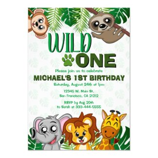 Cute Wild One Jungle Safari Animals First Birthday Invitation