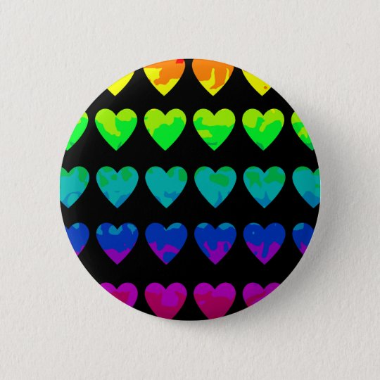 Cute wild rainbow hearts on black 6 cm round badge