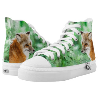 Cute Wild Red Fox Drawing Printed Shoes