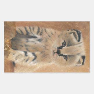 Cute wild serval kitten rectangular sticker