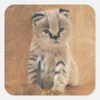 Cute wild serval kitten square sticker