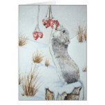 Cute wild wood mouse & berries snow scene art card card