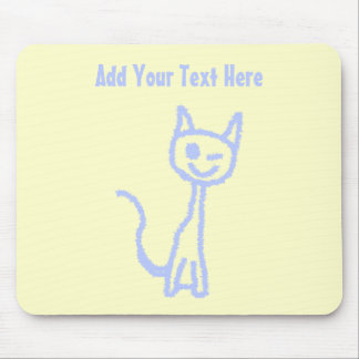 Cute winking cat Blue Mouse Pads