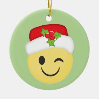 Cute Winking Christmas Emoji Holiday Ornament