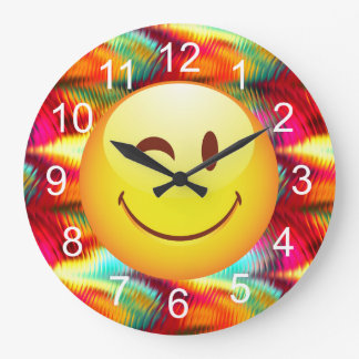 Cute Winking Happy Face and Bright Colors Wall Clocks