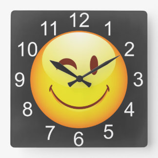 Cute Winking Happy Face Square Wall Clock