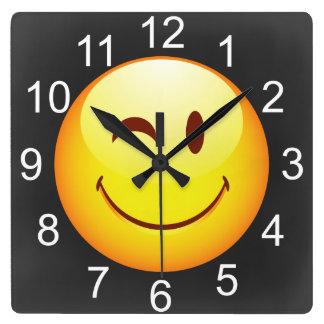 Cute Winking Happy Face Wall Clocks