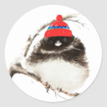 Cute Winter Bird in Hat, Christmas, Humour, Junco Round Stickers