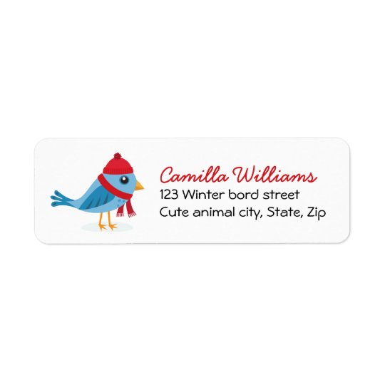 Cute winter bird with hat and scarf, Christmas Return Address Label