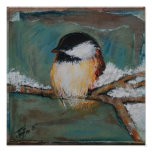 Cute Winter Black Capped Chickadee Poster