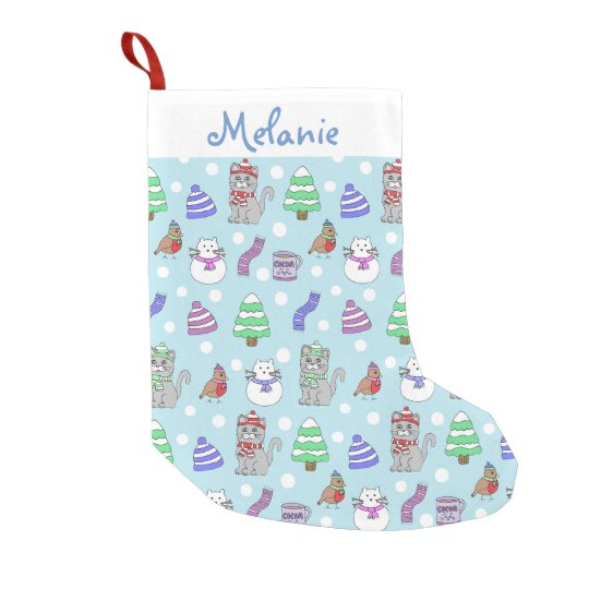 Cute Winter Cat Collage Small Christmas Stocking
