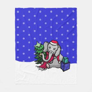 Cute Winter Landscape Christmas Cartoon Elephant Fleece Blanket