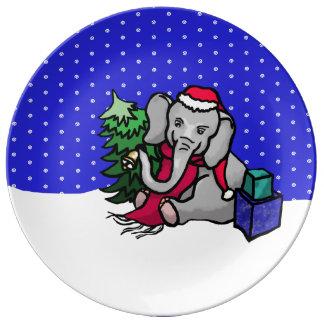 Cute Winter Landscape Christmas Cartoon Elephant Plate