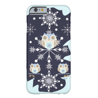 Cute winter Owls and Snowflakes Barely There iPhone 6 Case