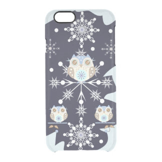 Cute winter Owls and Snowflakes Clear iPhone 6/6S Case