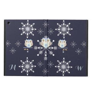 Cute winter Owls, Snowflakes and custom Initials iPad Air Cover