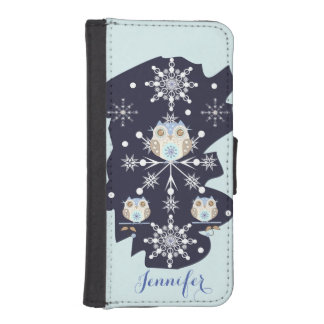 Cute winter Owls, Snowflakes and custom Name iPhone SE/5/5s Wallet Case