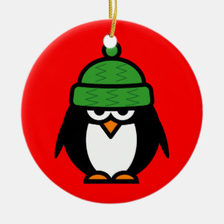 Cute winter penguin cartoon Christmas ornament