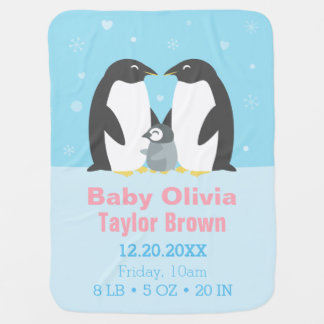 Cute Winter Penguin Family Baby Blanket