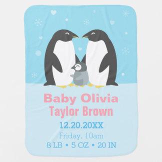 Cute Winter Penguin Family Baby Blanket