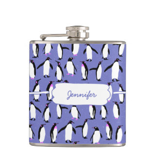 Cute winter penguin pattern hip flask