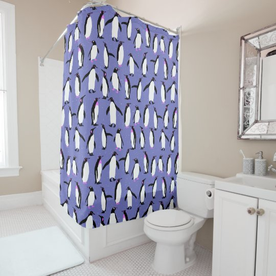 Cute winter penguin pattern shower curtain