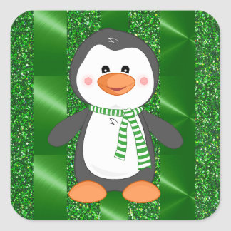 Cute Winter Penguin with Scarf Christmas Stickers